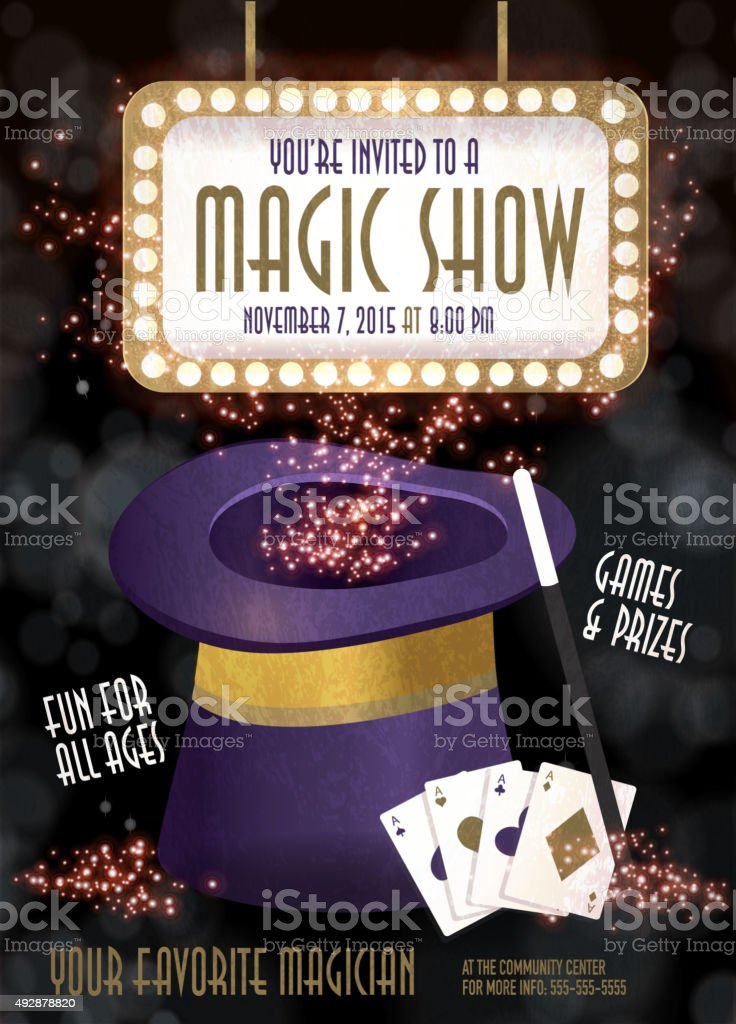 Magic Show entertainment night invitation design template vector art illustration