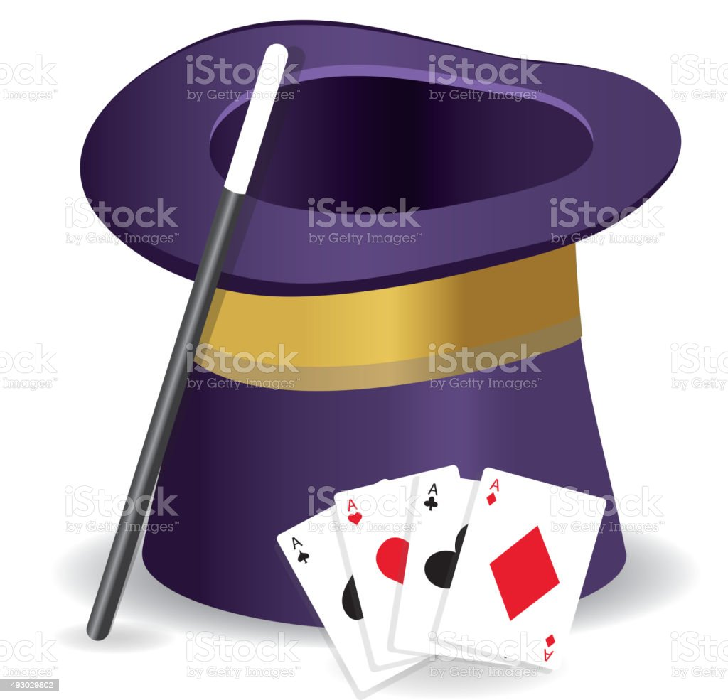 Magic Show entertainment set with hat, wand and cards vector art illustration
