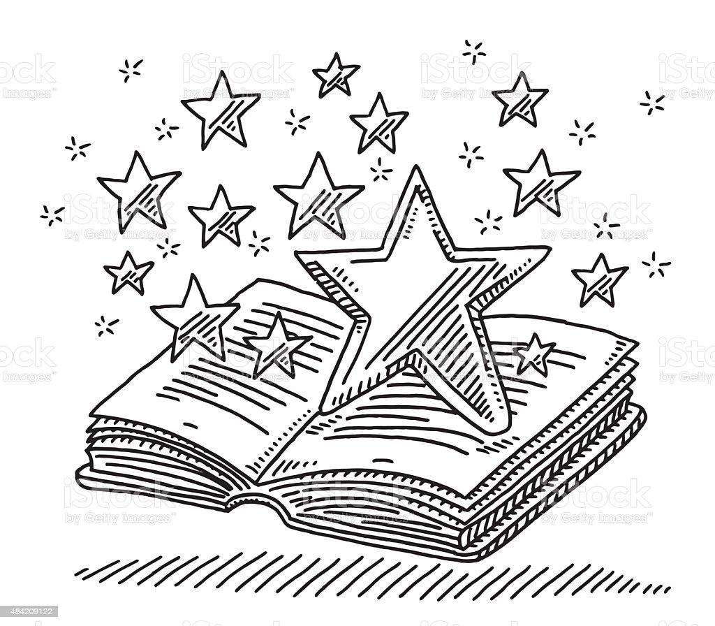 Magic Stars Over Open Book Drawing vector art illustration