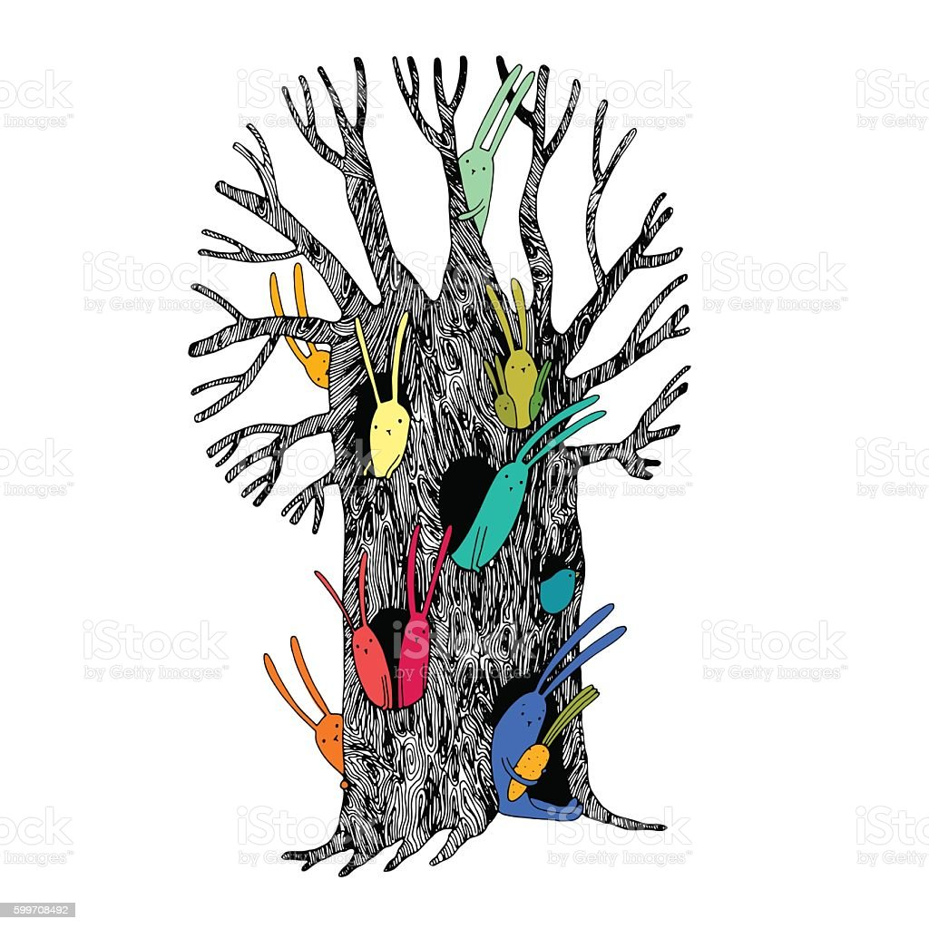 Magic Tree and hares. vector art illustration