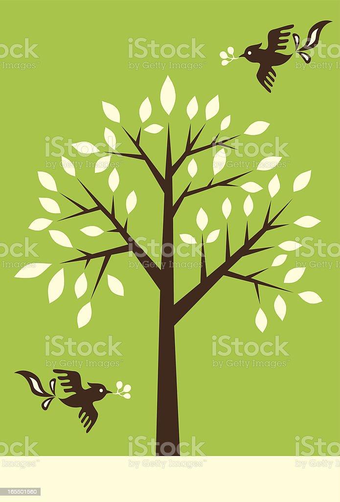Magic Tree & Birds royalty-free stock vector art