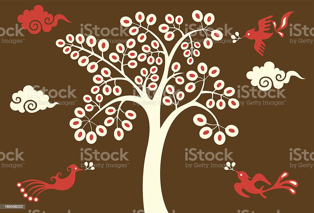 Magic Tree & Birds royalty-free stock vector art