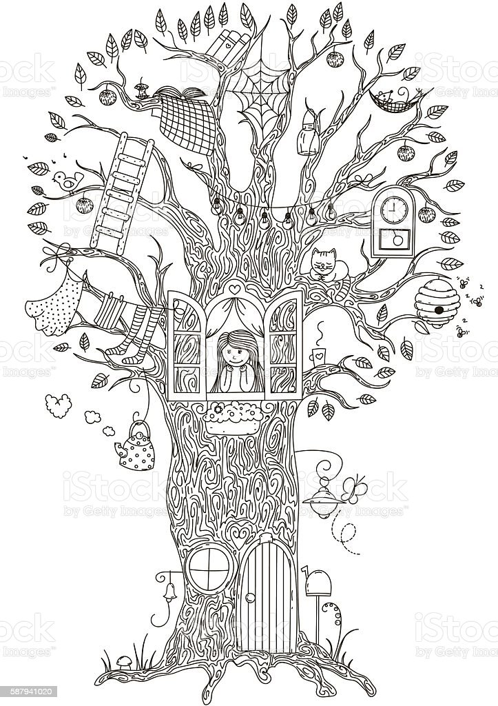 Magic Tree.  house in which he lives a girl. Vector vector art illustration