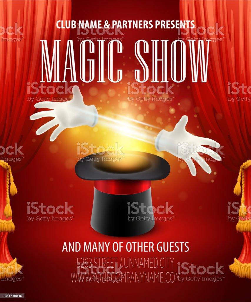 Magic trick, performance, circus, show concept. Vector illustration vector art illustration