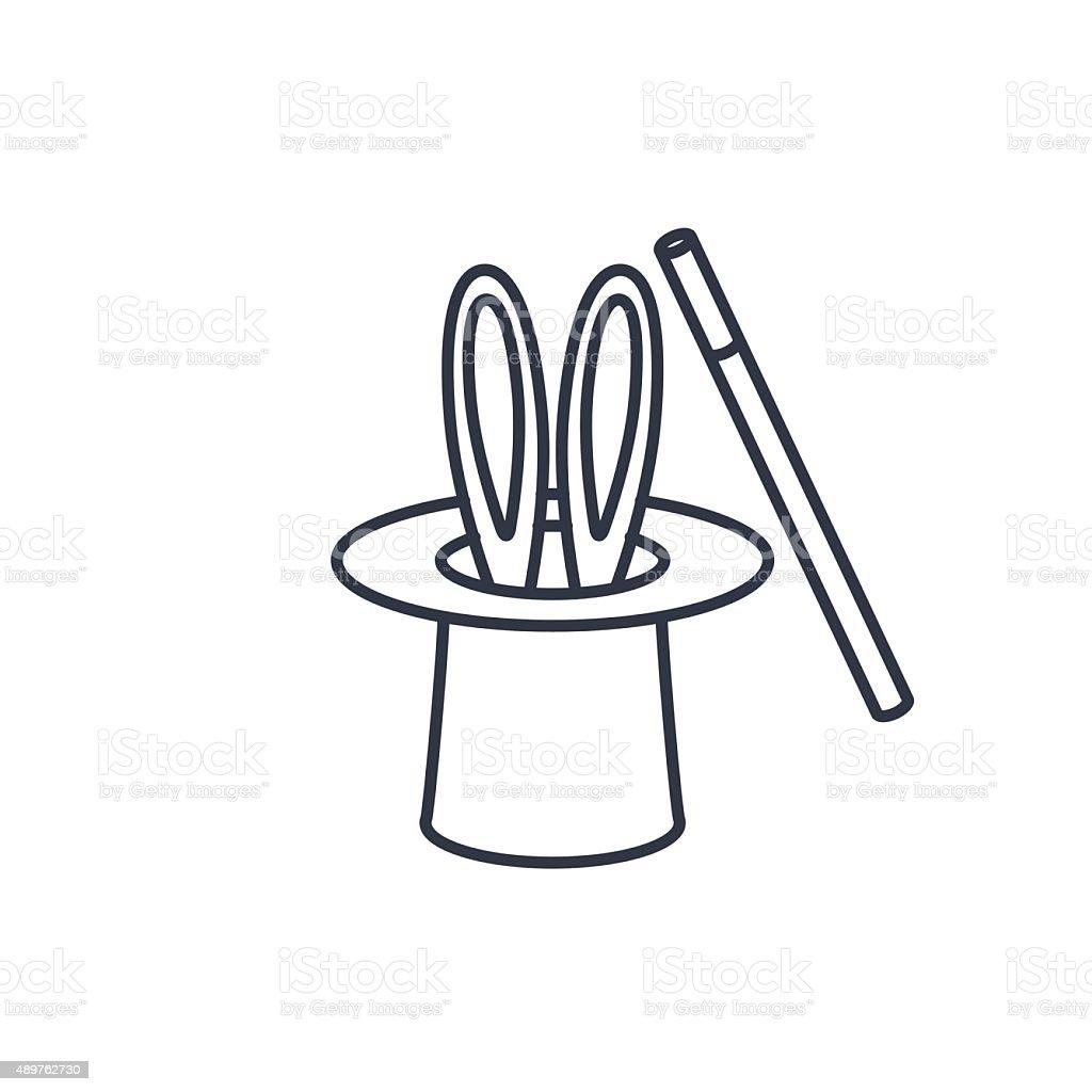 Magic trick rabbit in black hat cylinder outline icon vector art illustration