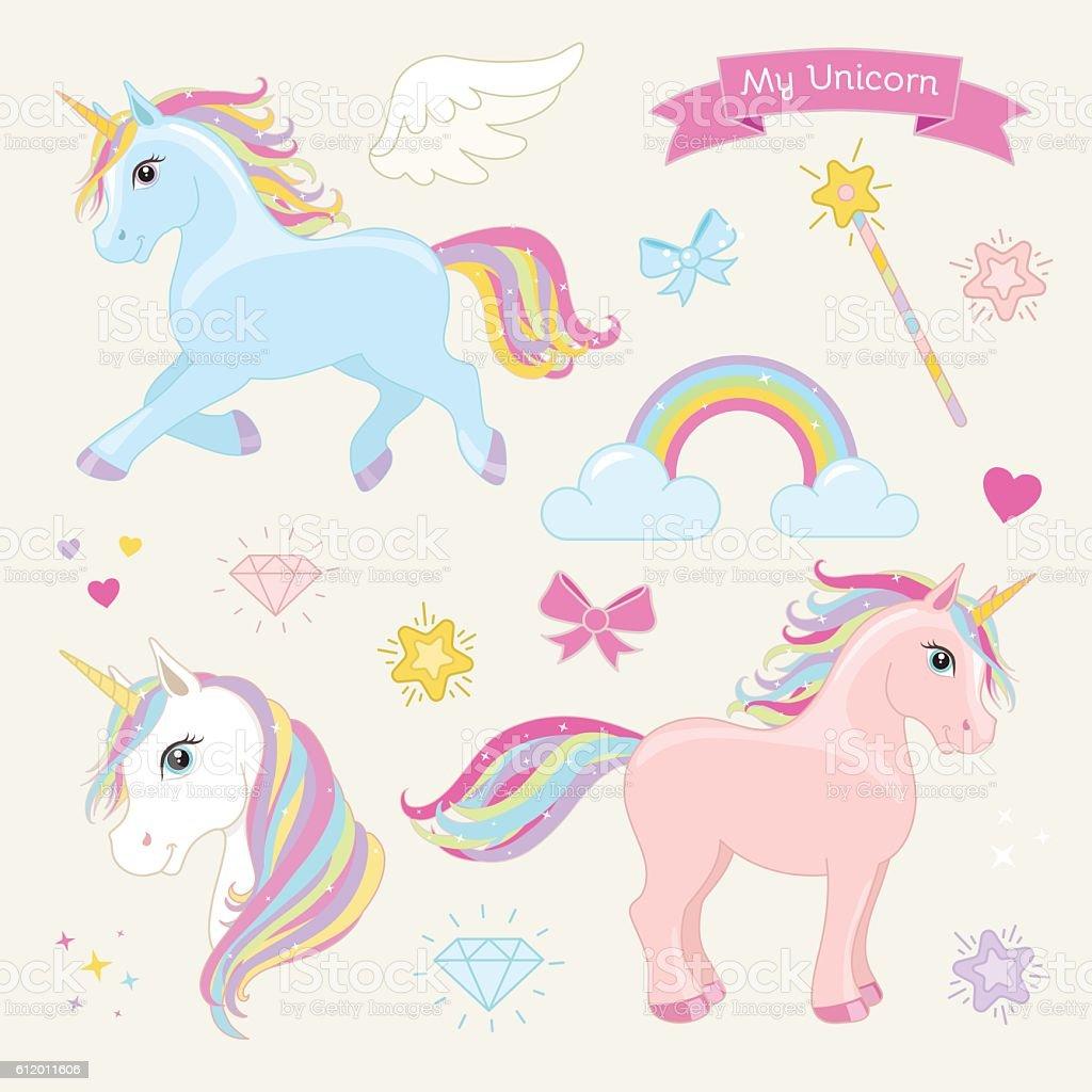 Magic unicorn vector set. Unicorns in Action. vector art illustration