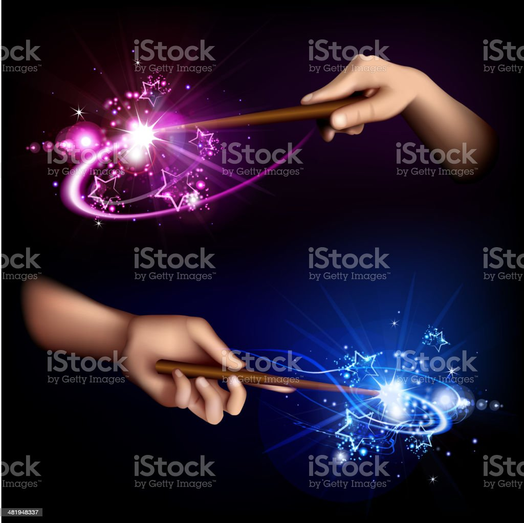 Magic wand in hand vector art illustration