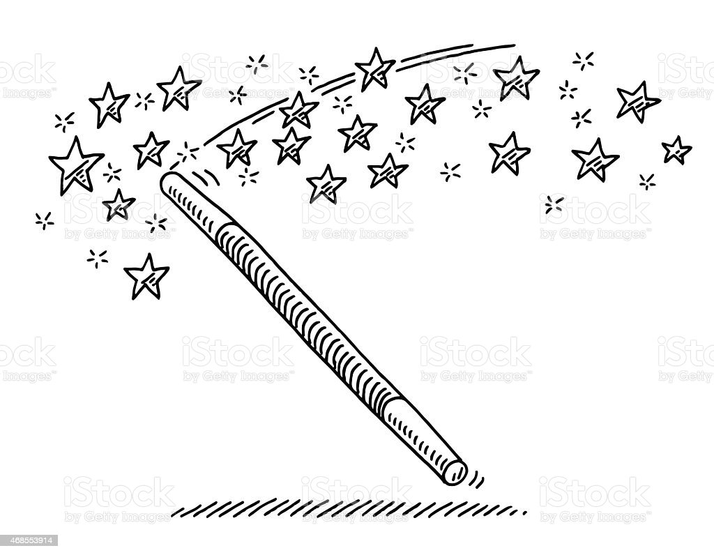 Magic wand stars drawing stock vector art 468553914 istock - Dessin baguette magique ...