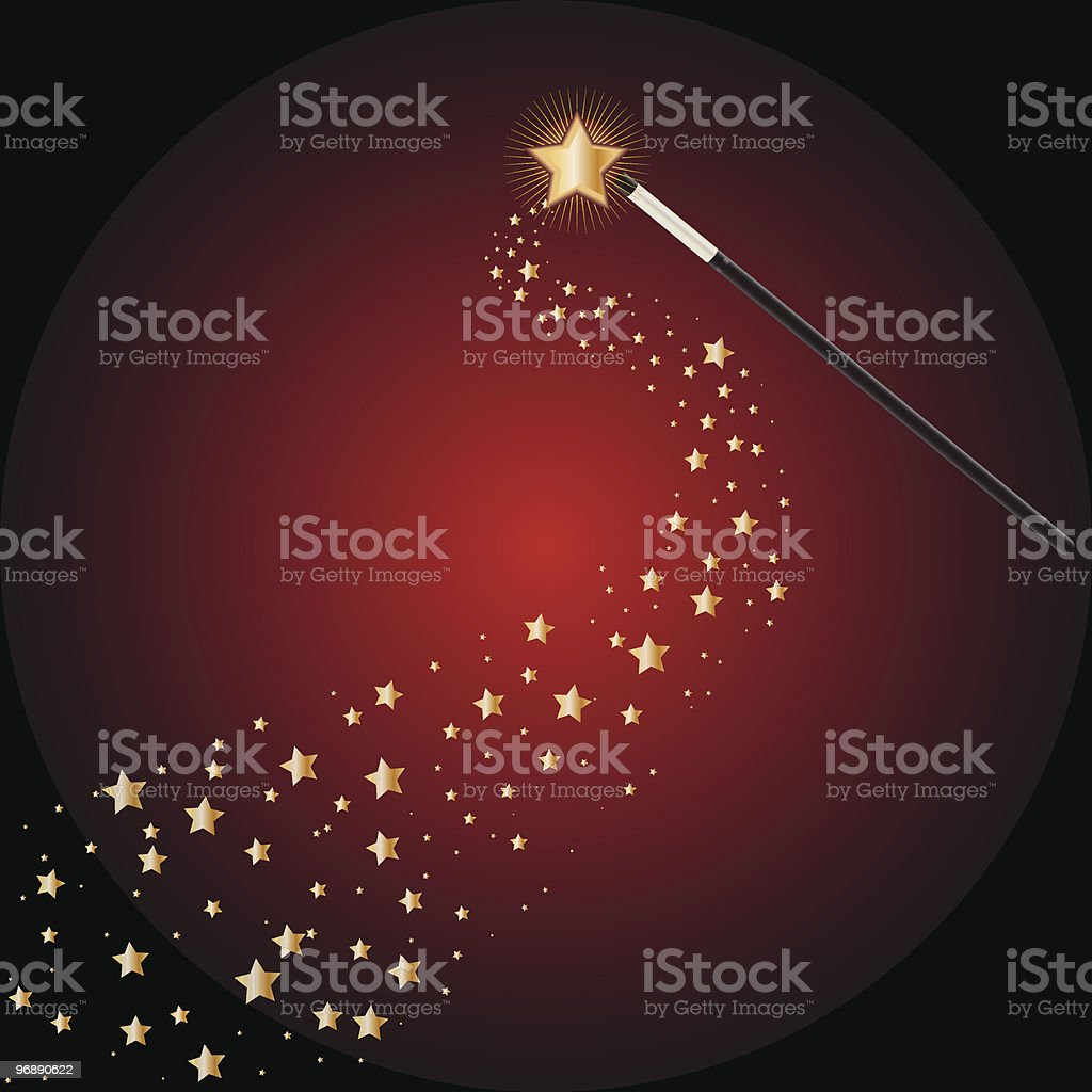 Magic wand trailed by stars on a red background royalty-free stock vector art