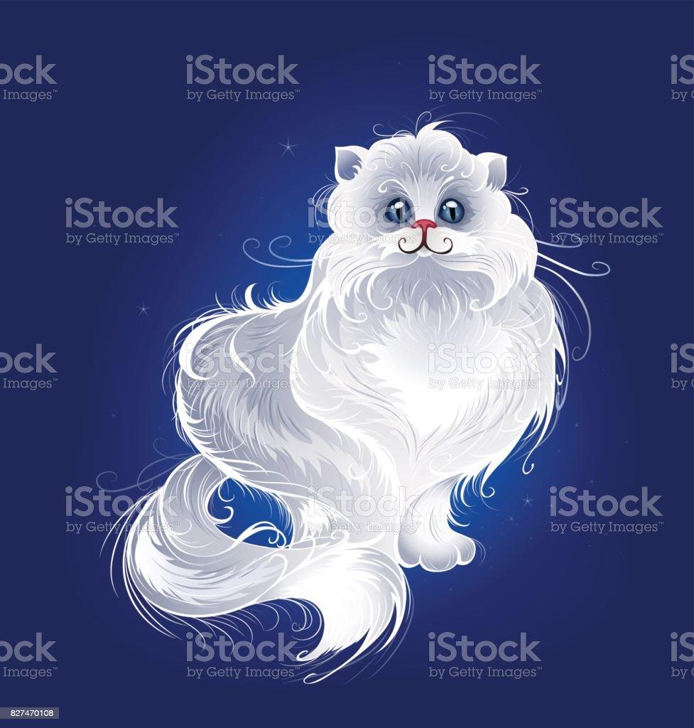 magic white Persian cat vector art illustration