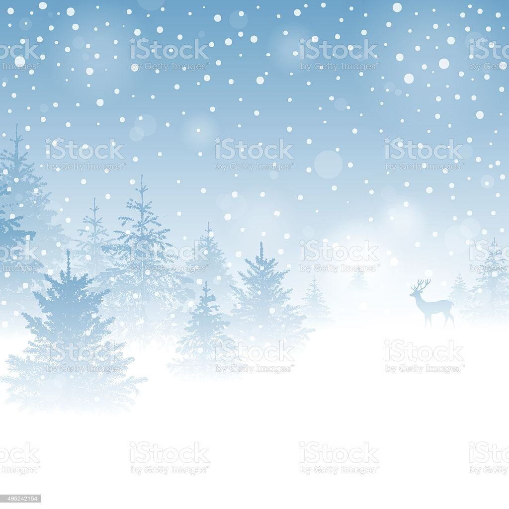 Magic Winter Background vector art illustration