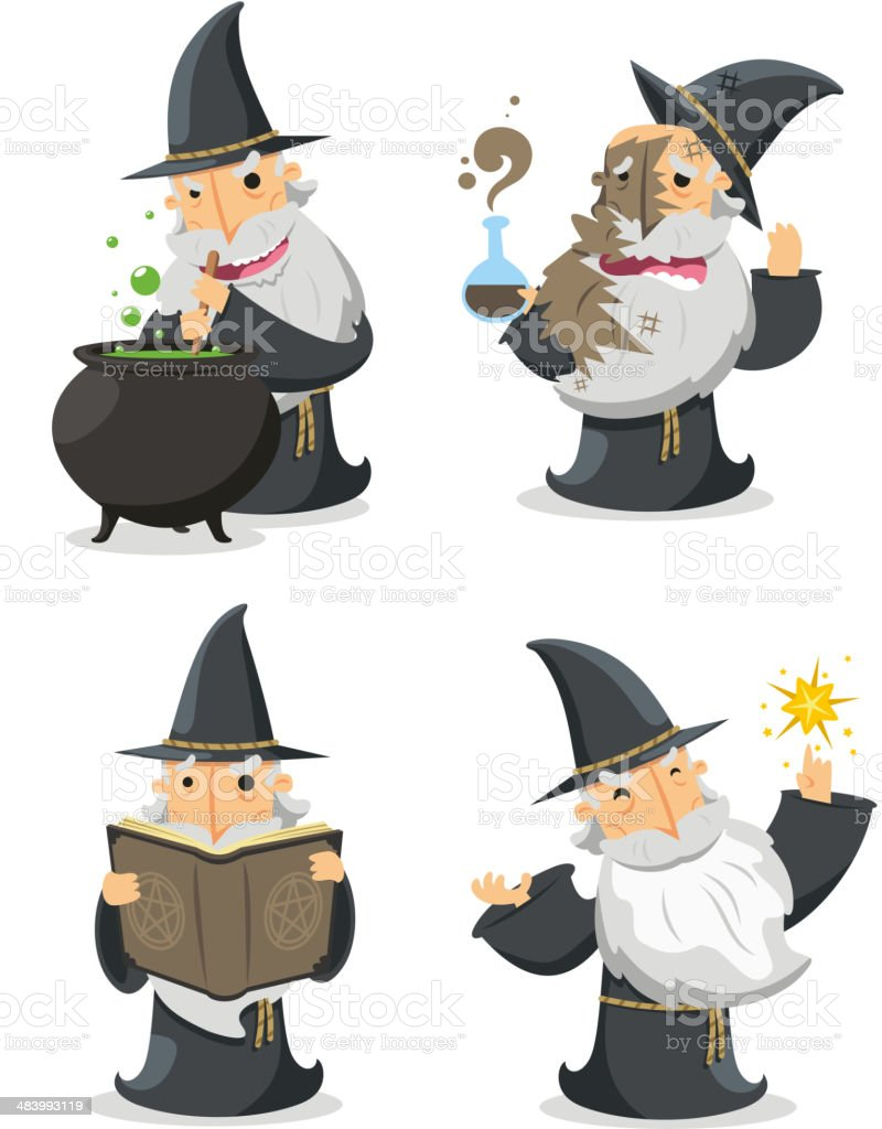 Magic Witch Wizard in action With long white magician beard royalty-free stock vector art
