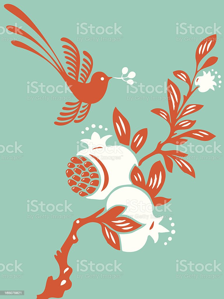 Magical Bird & Pomegranate royalty-free stock vector art