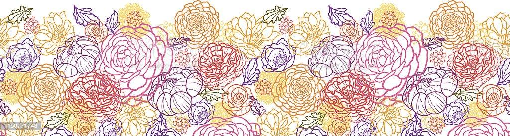 Magical Bouquet Floral Horizontal Seamless Border royalty-free stock vector art