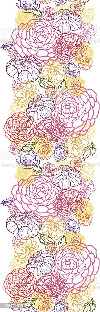 Magical Bouquet Floral vertical Seamless Border royalty-free stock vector art