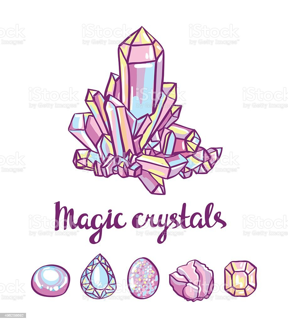 magical crystals. Jeweler card. Vector illustration. vector art illustration