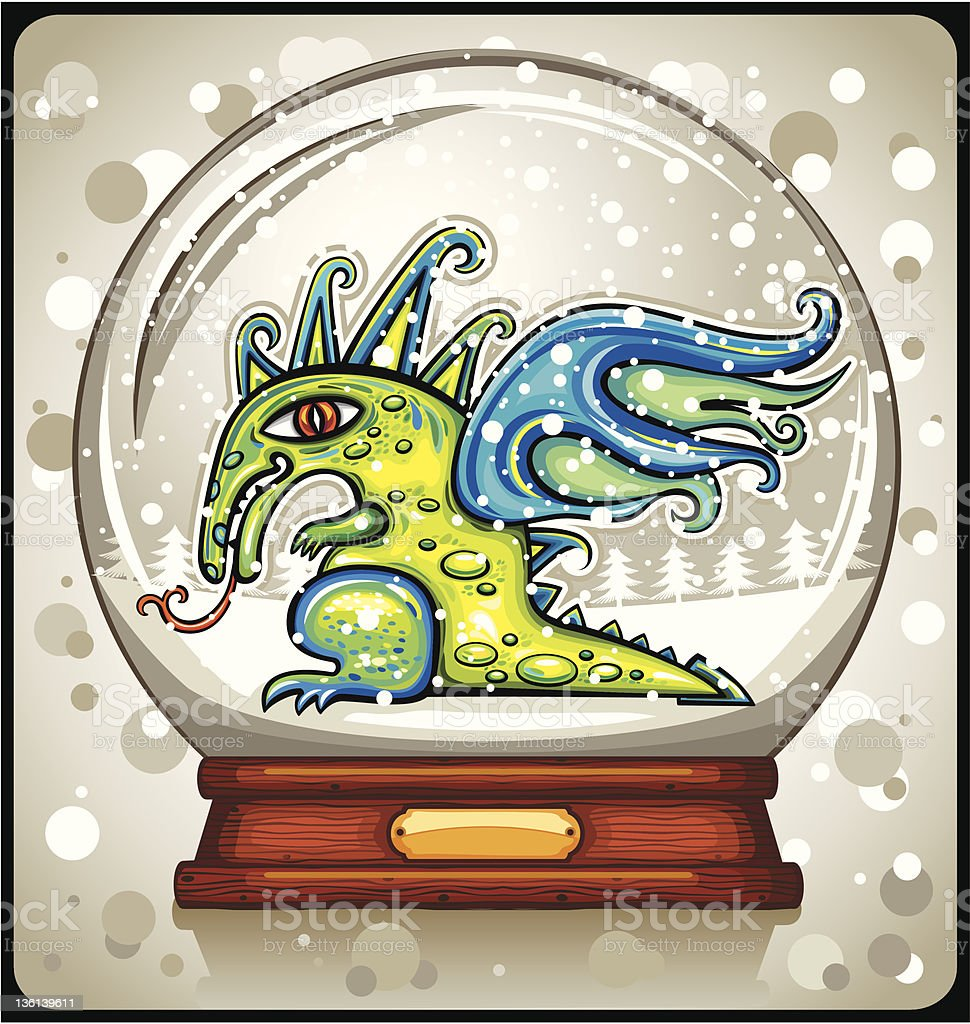 Magical Dragon inside of the snow-dome royalty-free stock vector art