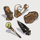 Magical elements, idol, ancient calendar