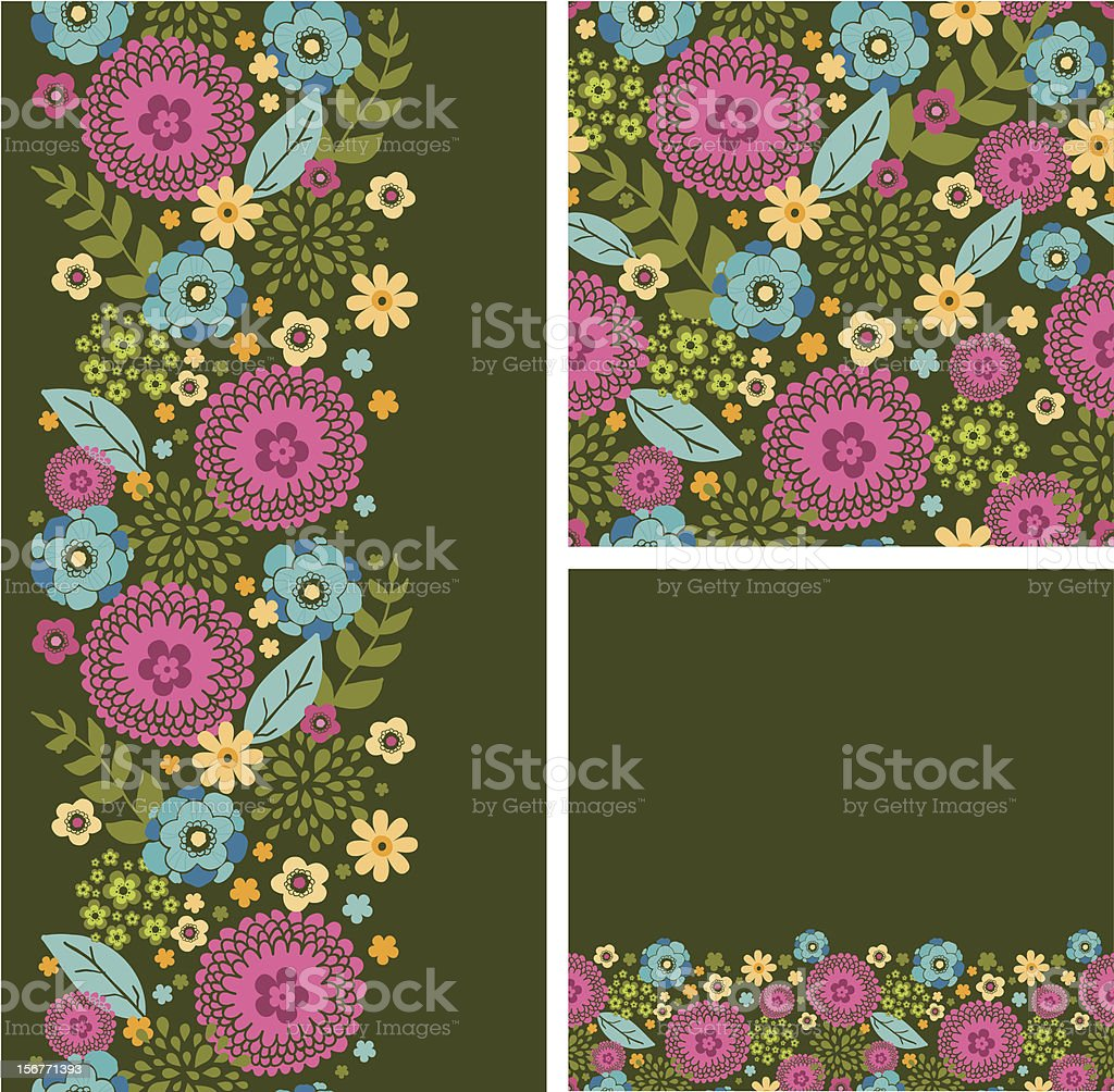 Magical Flower Field Seamless Pattern Set royalty-free stock vector art