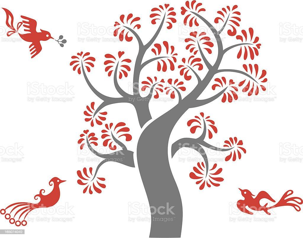 Magical Tree & Birds Delight royalty-free stock vector art