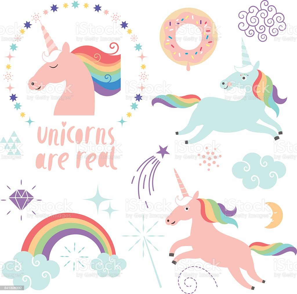 Magical Unicorn Clipart stock vector art 541306332 | iStock