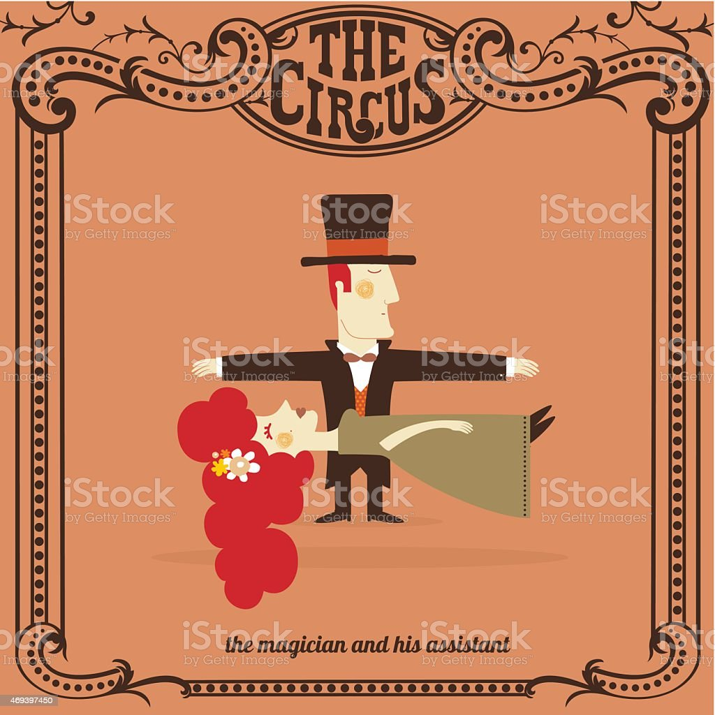 magician and assitant vector art illustration