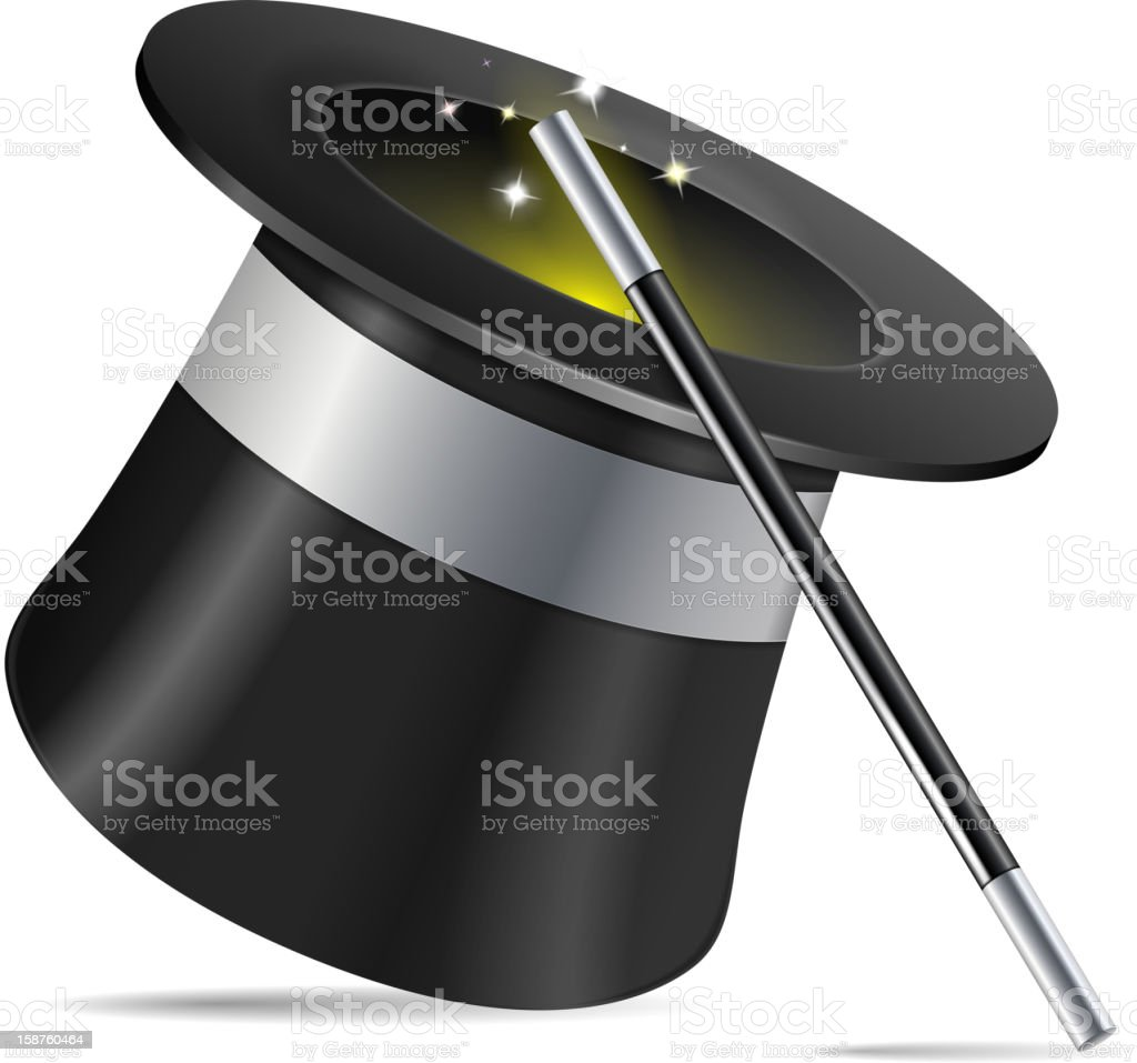 Magician hat and a stick illustration royalty-free stock vector art