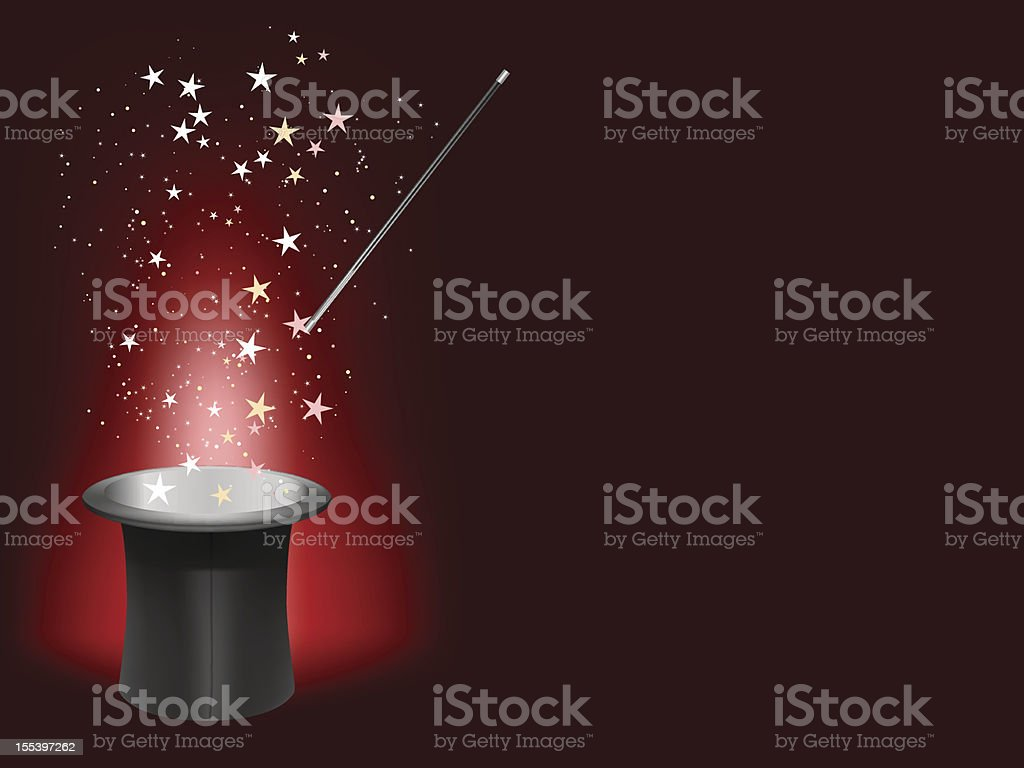 Magician hat and wand with stars and sparks vector art illustration