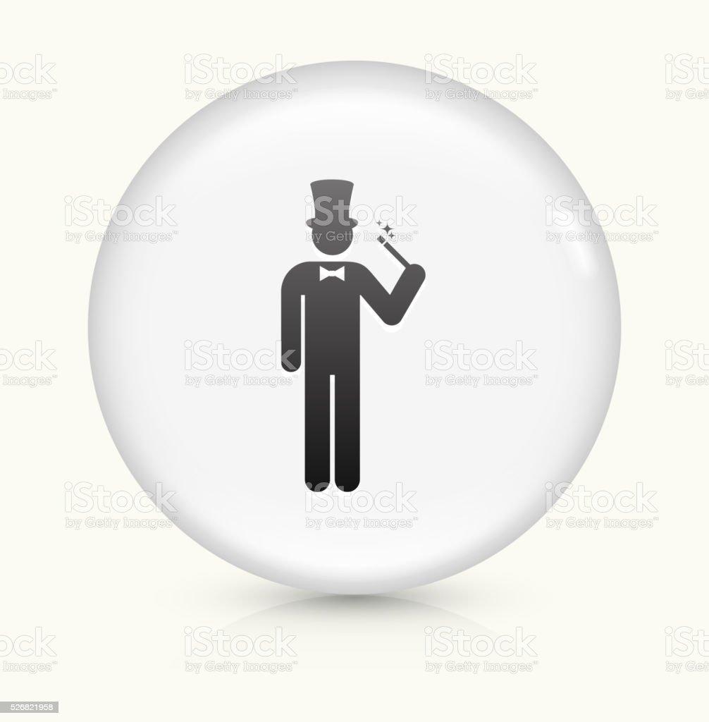 Magician icon on white round vector button vector art illustration