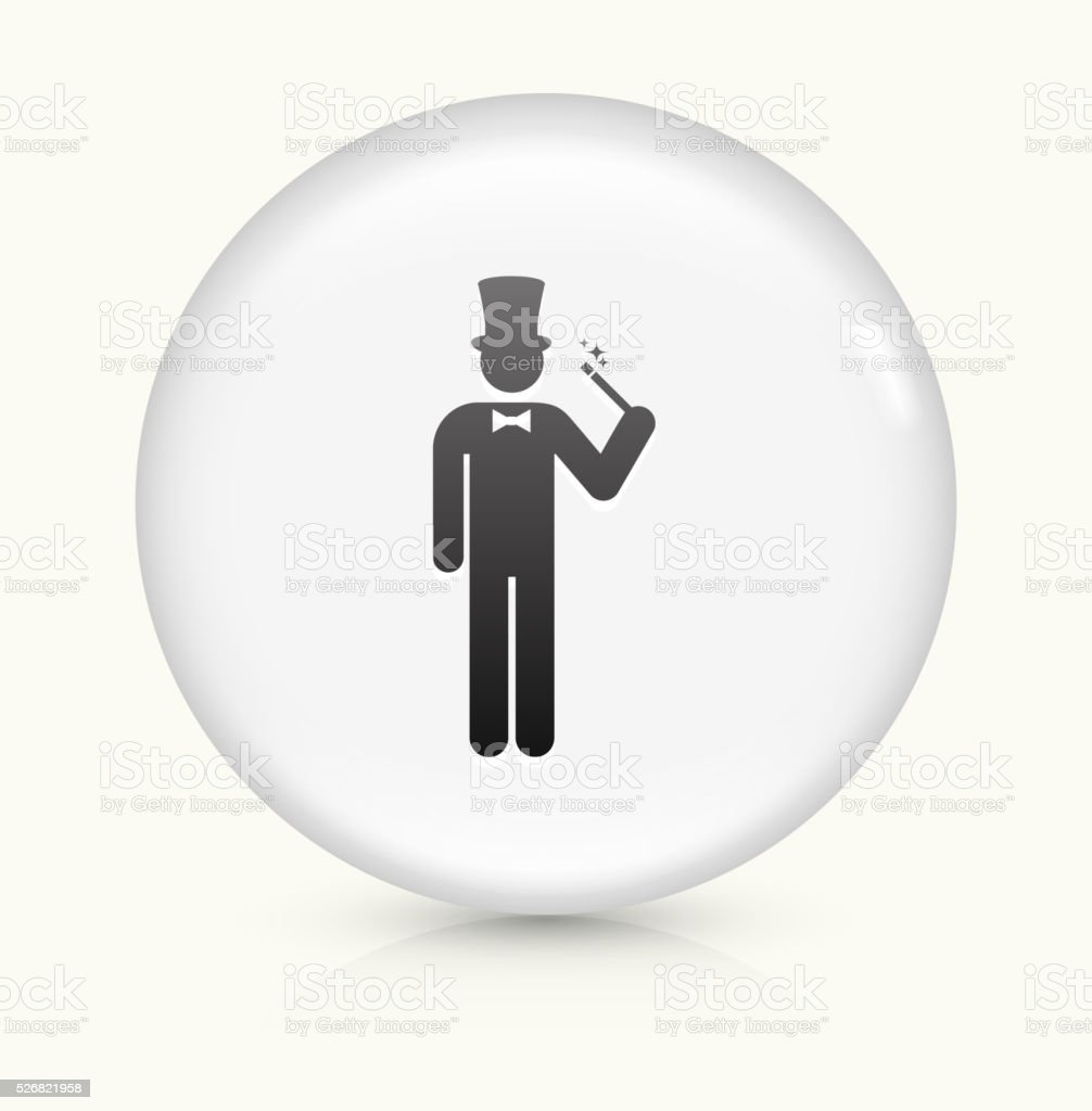 Magician icon on white round vector button vector art illustration