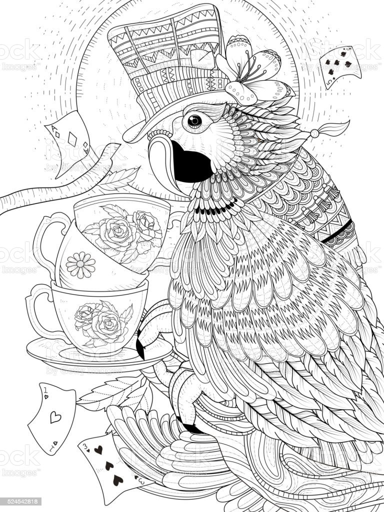 magician parrot coloring page stock vector art 524542818