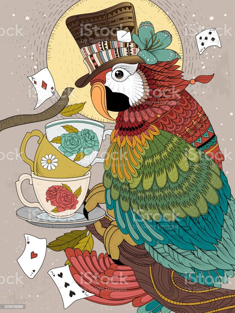 magician parrot adult coloring page vector art illustration
