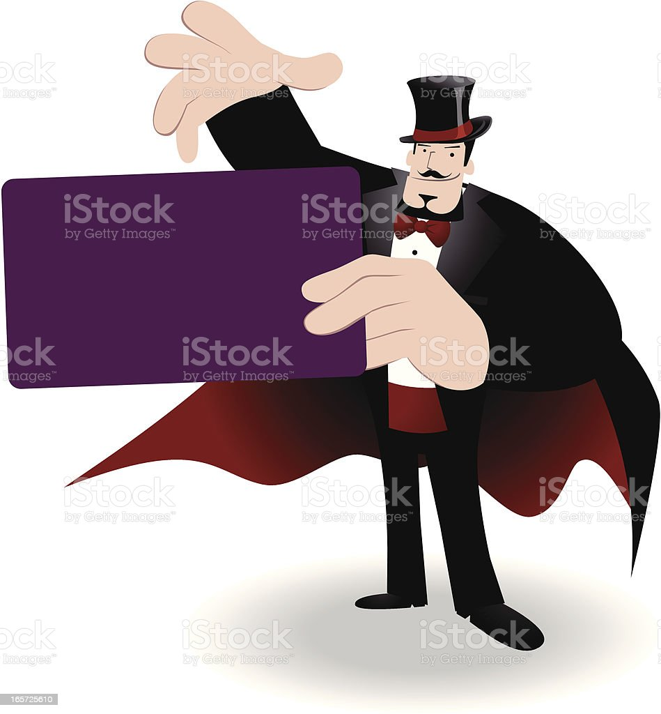Magician performing tricks with a magic card royalty-free stock vector art