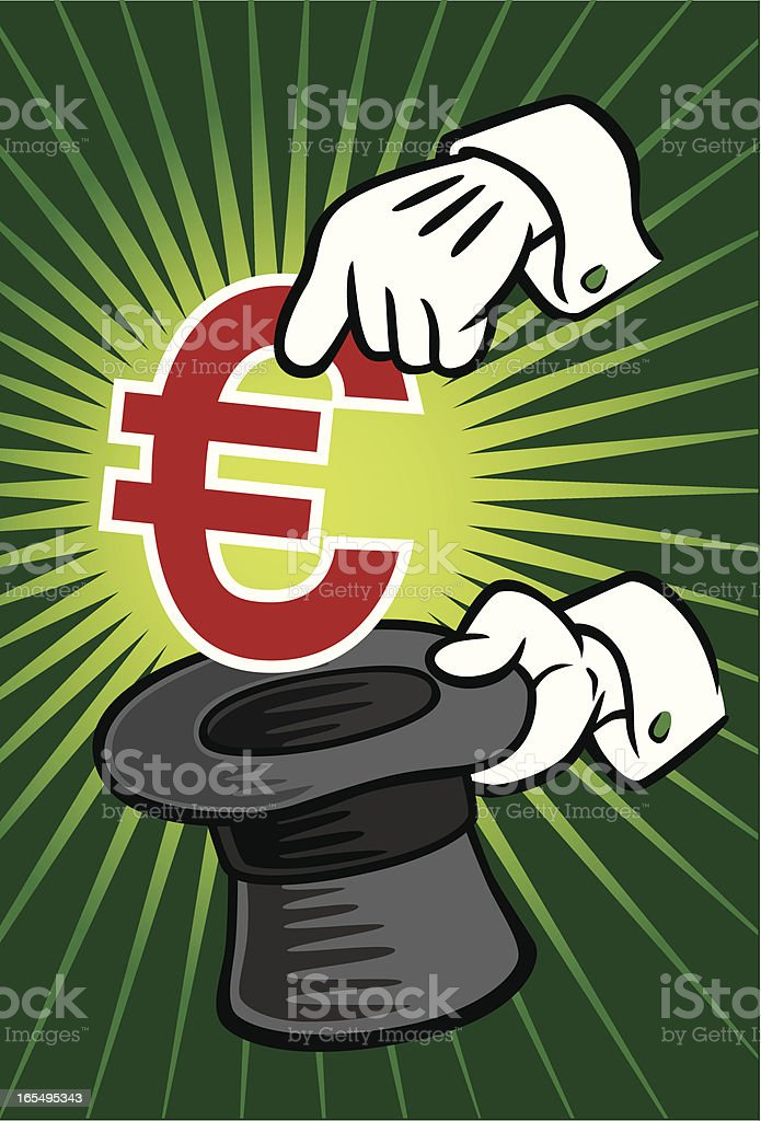 Magician Pulling Euro From Hat royalty-free stock vector art