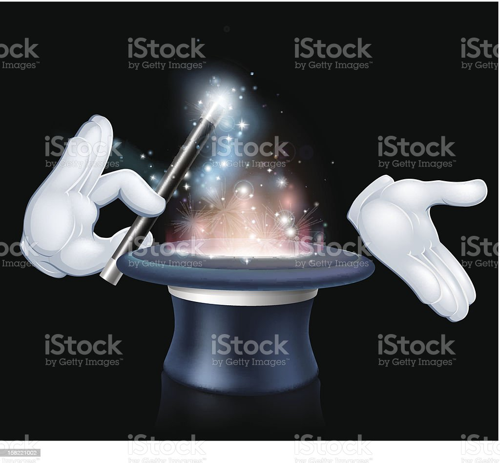 Magician wand and top hat trick royalty-free stock vector art