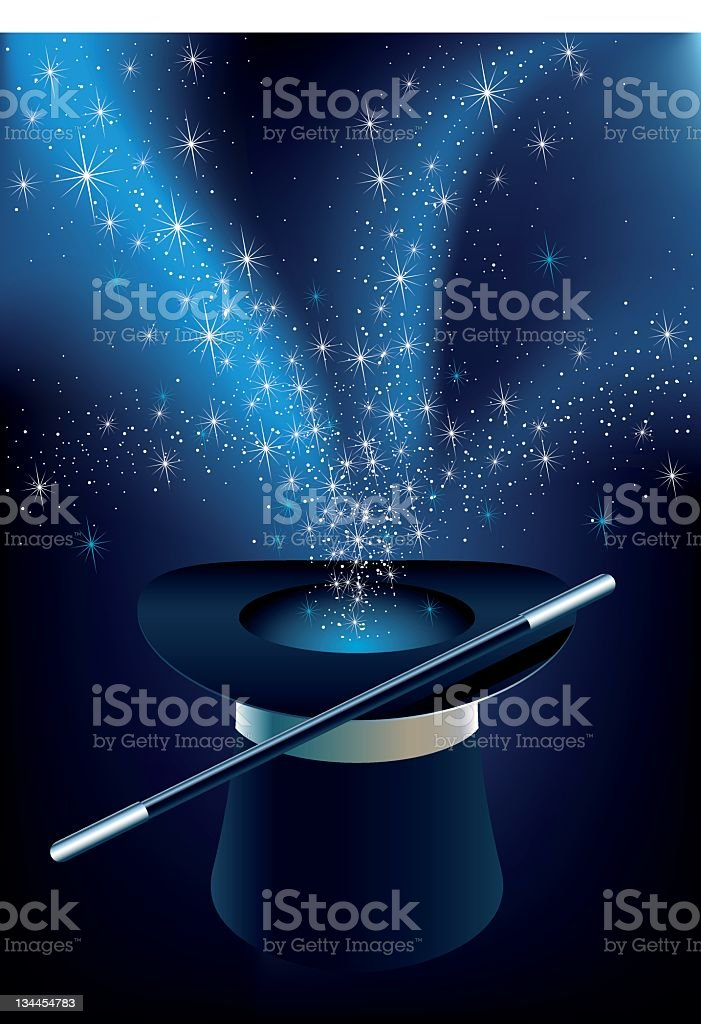 A magician's hat with mac if coming out vector art illustration