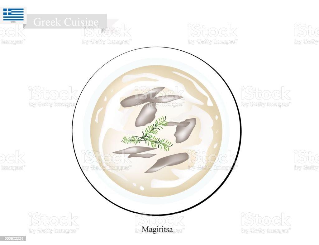 Magiritsa, One of Popular Food in Greece vector art illustration