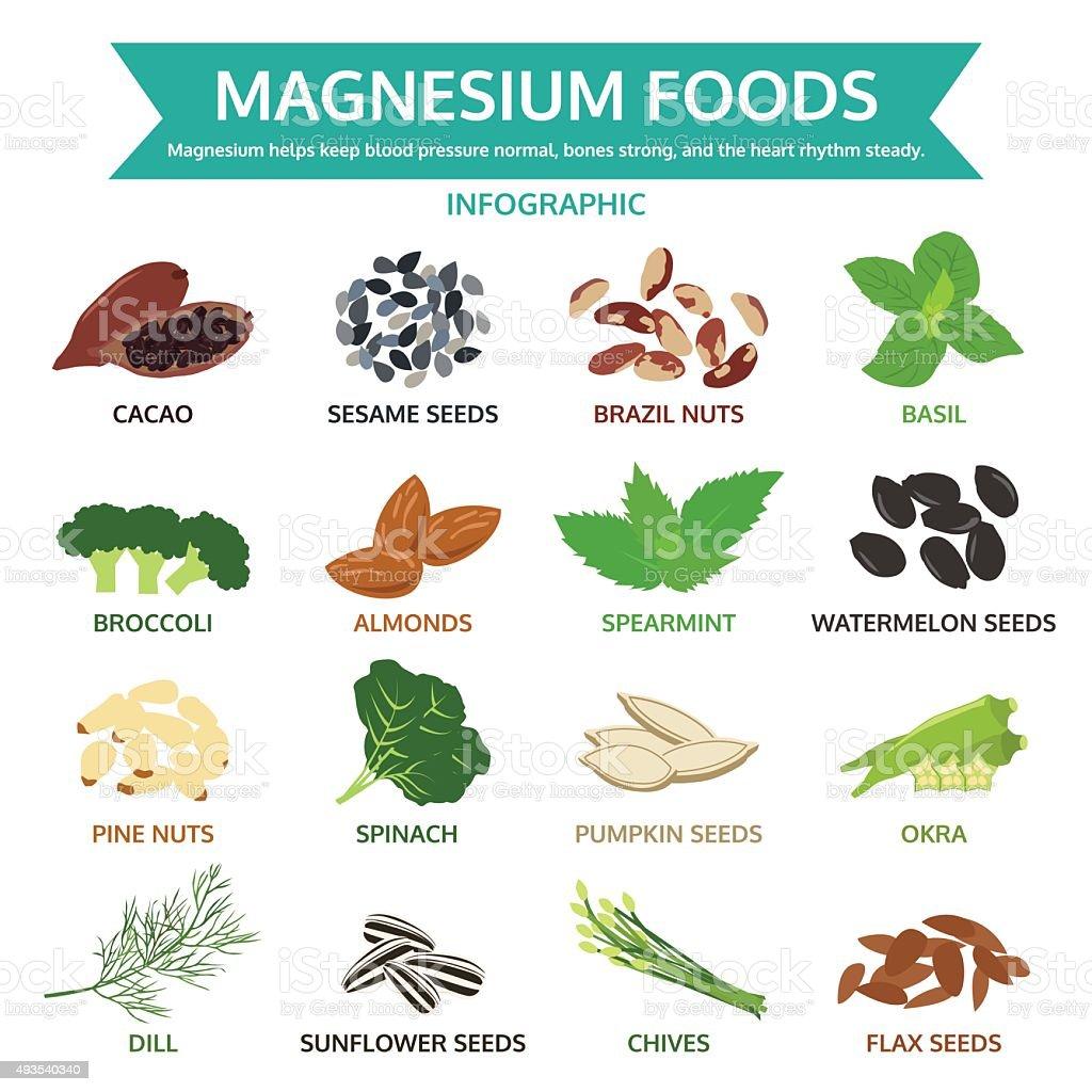 magnesium foods, healthy food vector illustration, infographic vector art illustration
