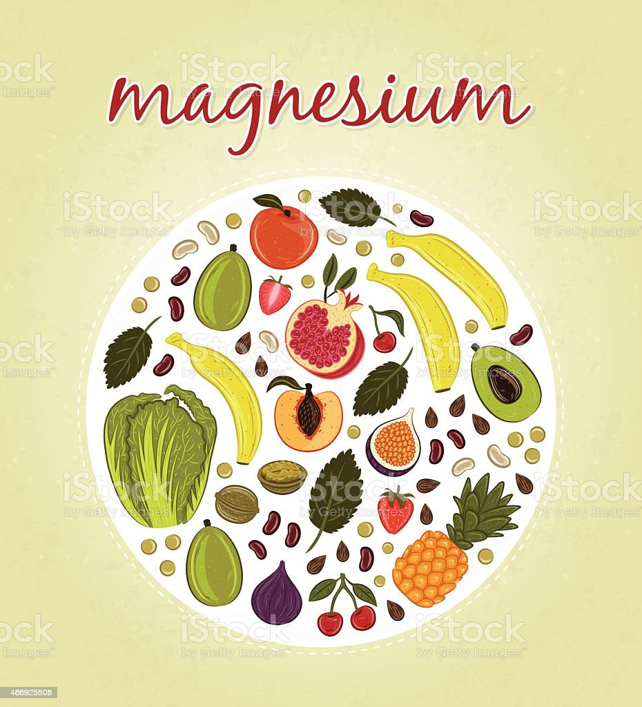 Magnesium - Fruits and Vegetables (vector illustration) vector art illustration