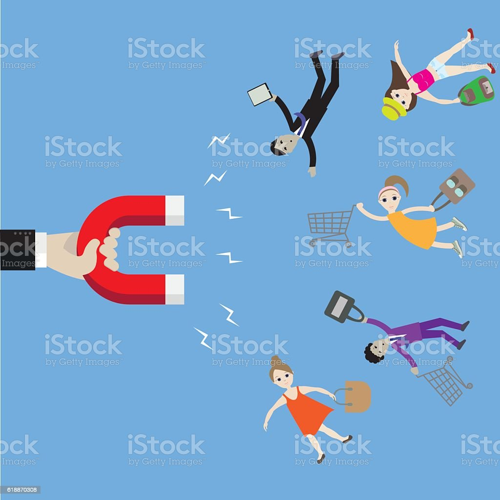 magnet hand attracts people vector art illustration