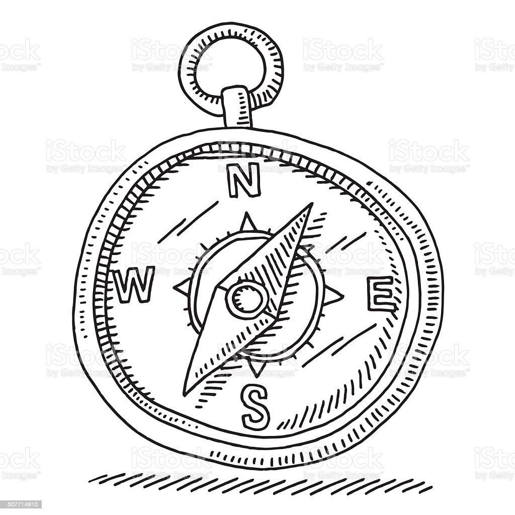 Magnetic Compass Navigation Symbol Drawing vector art illustration