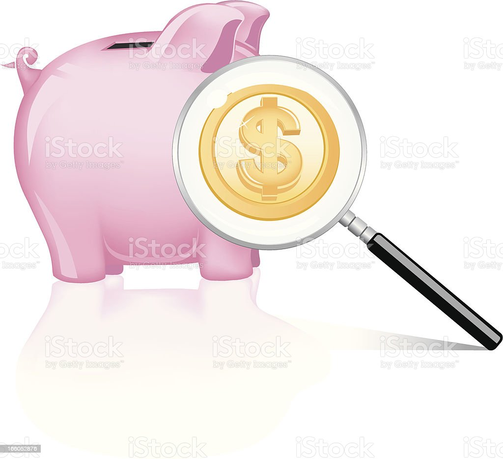 Magnified Wealth royalty-free stock vector art
