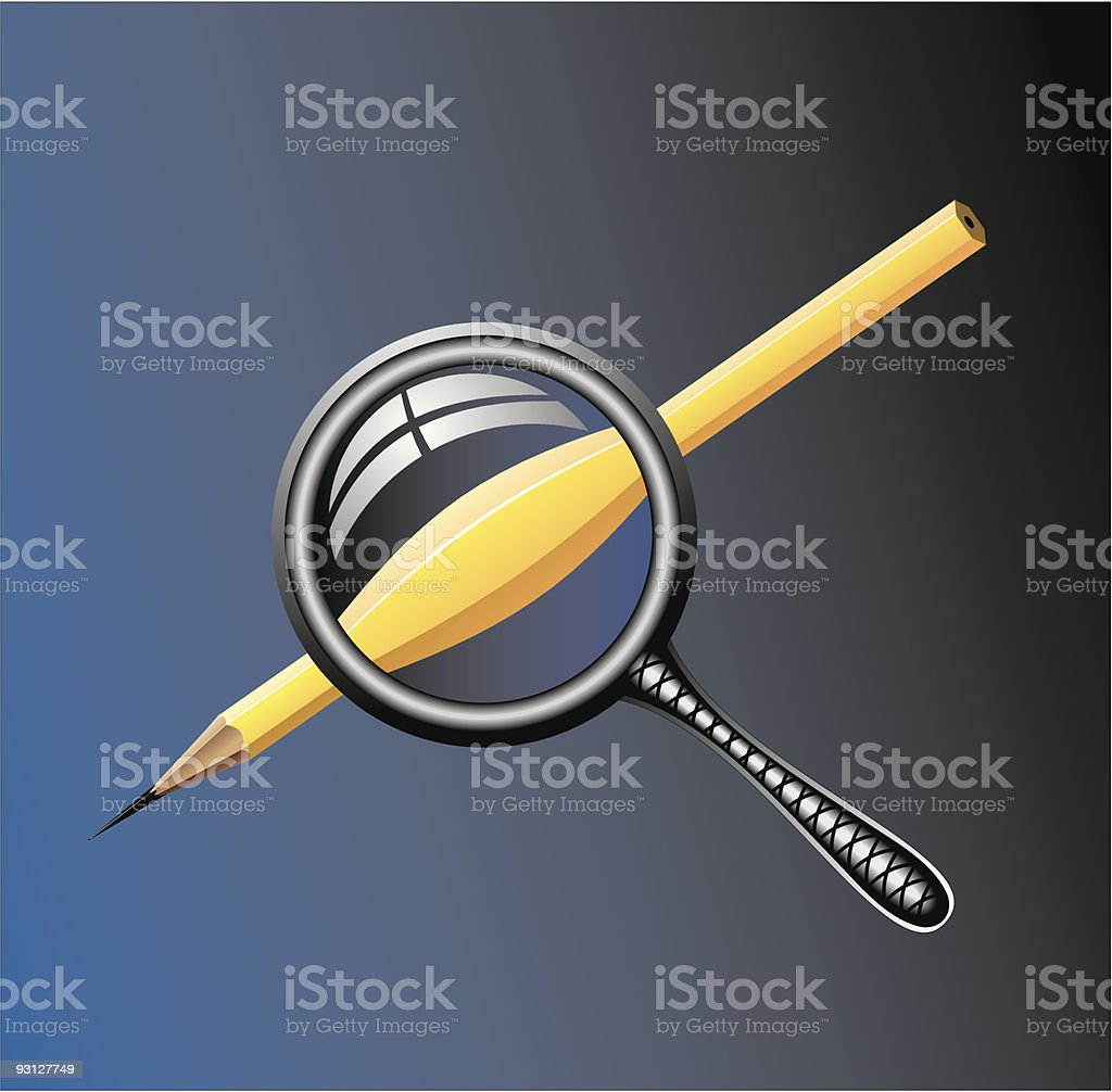Magnifier and pencil royalty-free stock vector art