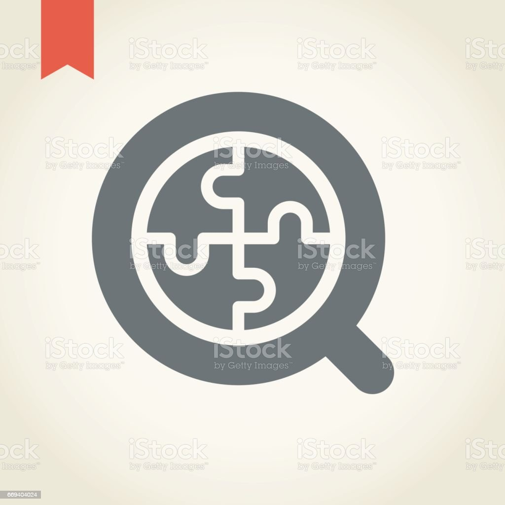 Magnifier and puzzle icon vector art illustration