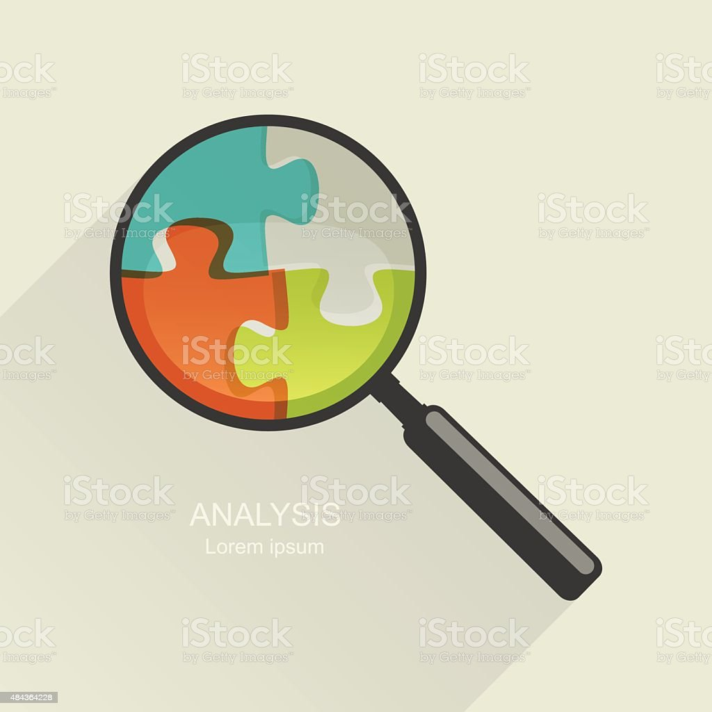 Magnifier and puzzle vector art illustration