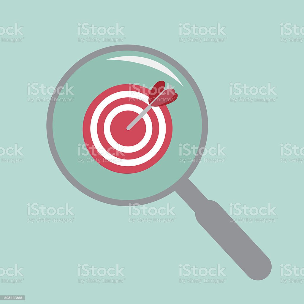 Magnifier and target. Flat design style. royalty-free stock vector art