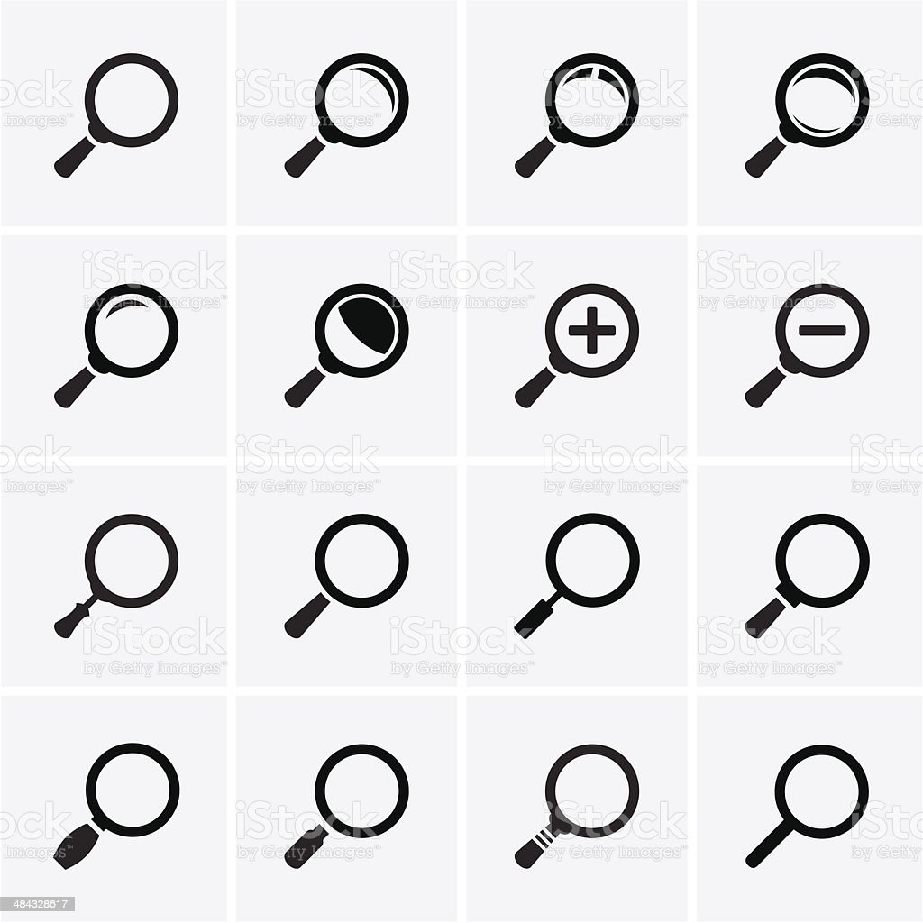 Magnifier Glass and Zoom Icons vector art illustration