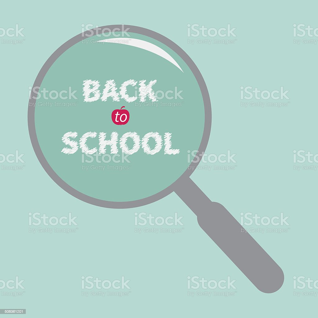 Magnifier glass. Back to school chalk text. Flat design. royalty-free stock vector art