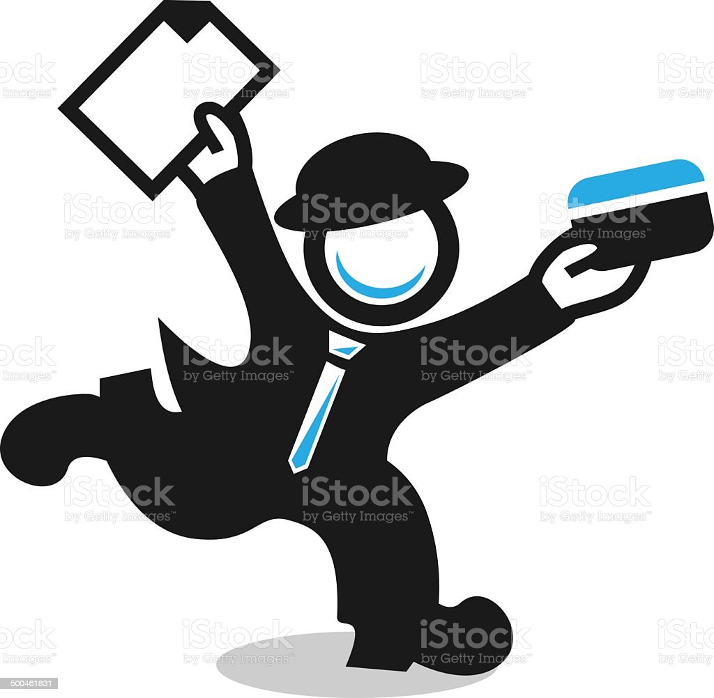 Magnifier in suit and hat - searching for credit royalty-free stock vector art