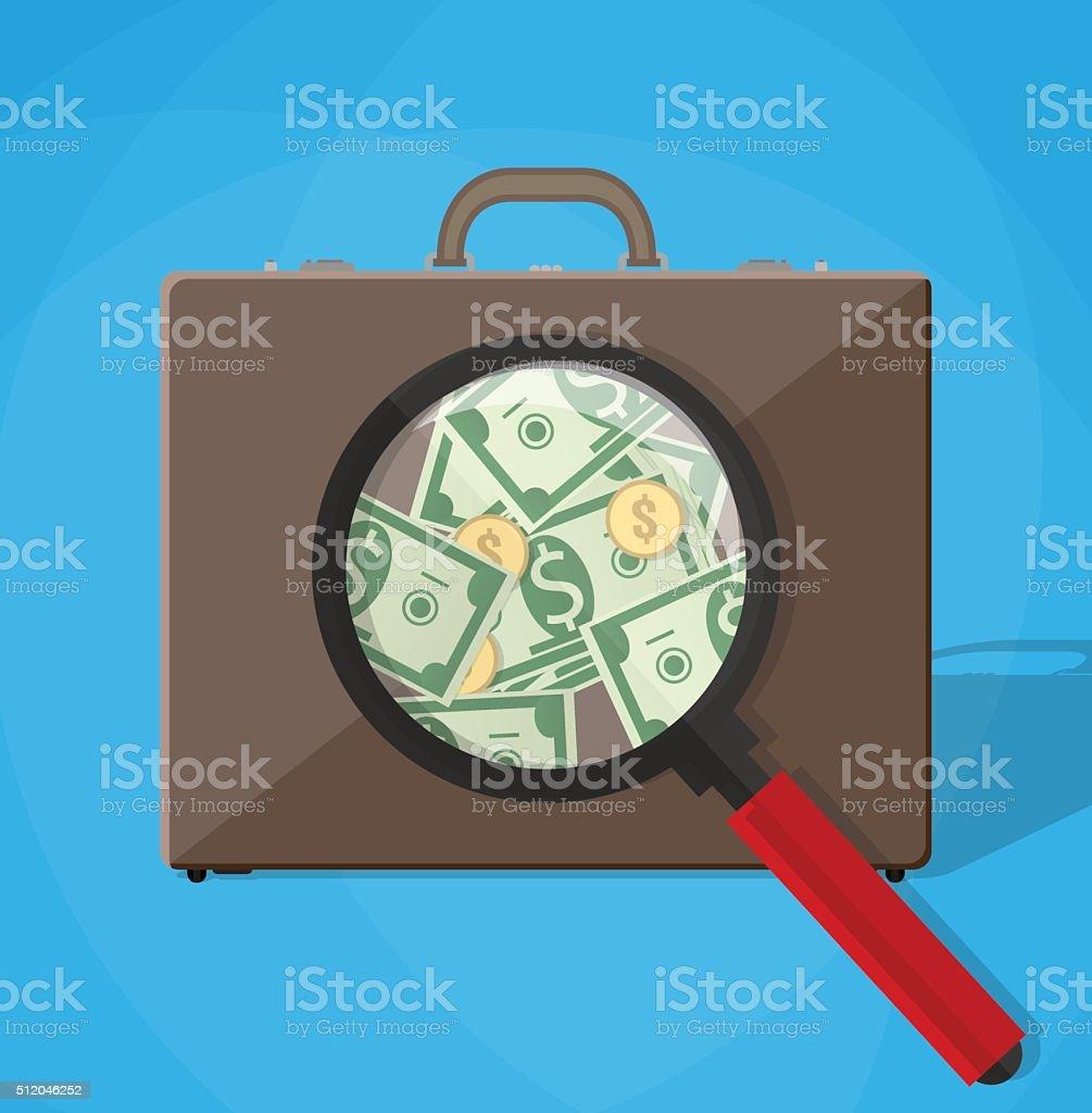 magnifier inspect briefcase vector art illustration